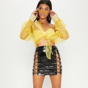 Black PrettyLittleThing Lace Up Skirt